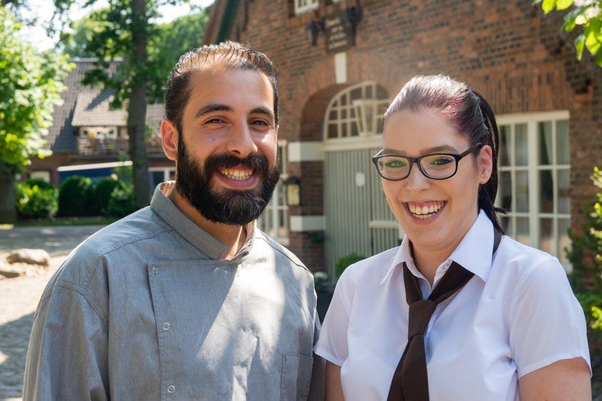 Shady Alshalaty und Celine Diron sind die neuen Auszubildenden im Bümmersteder Krug.