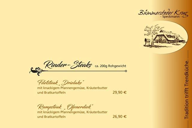 Abendkarte des Bümmersteder Kruges